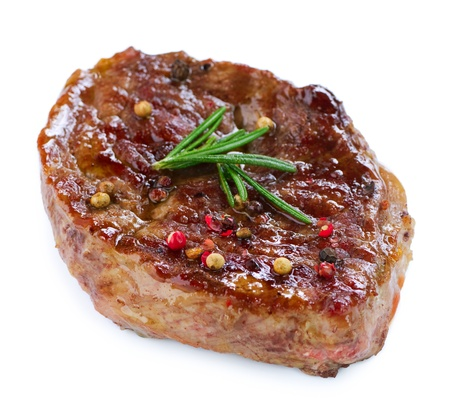 Grilled Beef Steak Isolated On a White Background Stock Photo - 12382090