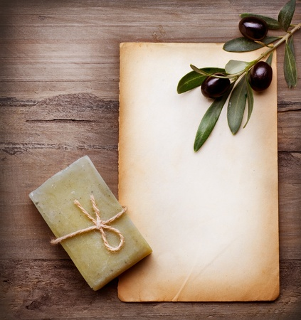 Handmade Olive Soap and Blank Paper with Olive Branch photo