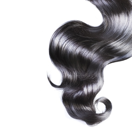 cabello negro: Cabello negro sobre blanco Foto de archivo