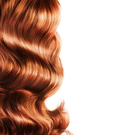 curls: Red Hair Isolated On White