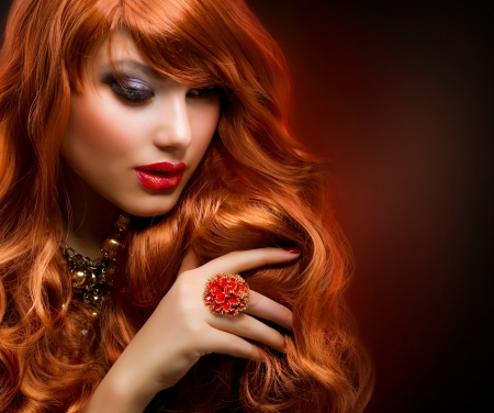 Wavy Red Hair  Fashion Girl Portrait Stock Photo - 12632230