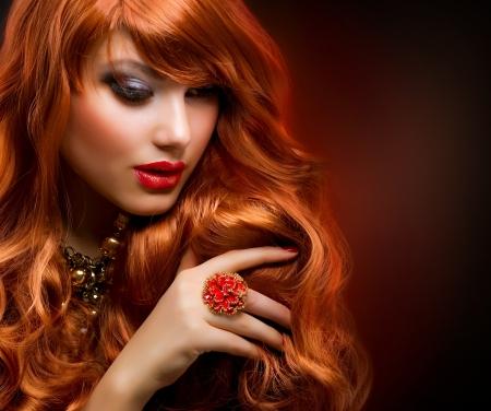 Wavy Red Hair  Fashion Girl Portrait Stock Photo - 12632230