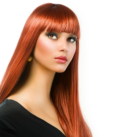 Beautiful Girl with Healthy Long Straight Hair  photo