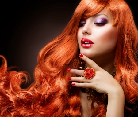 Wavy Red Hair  Fashion Girl Portrait