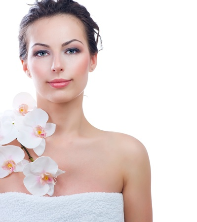 clear skin: Beautiful Young Woman With Fresh Healthy Skin  Spa  Stock Photo