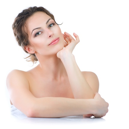 emotions faces: Beautiful Young Woman touching her Face  Skincare Stock Photo