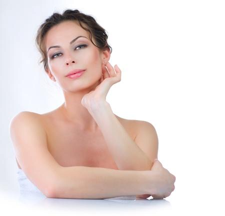 Beautiful Young Woman touching her Face  Skincare Stock Photo - 12862790