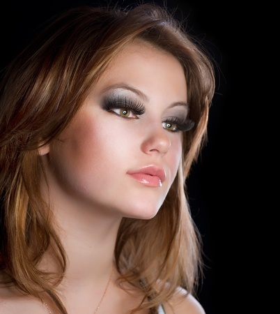 make up model: Fashion Makeup Portrait of Beautiful Girl with Long Eyelashes