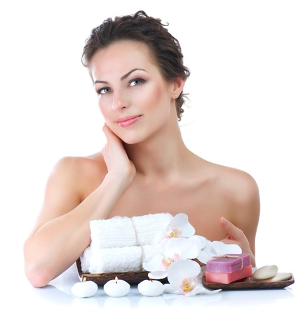 woman in spa: Spa At Home  Stock Photo
