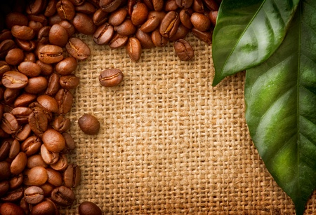 coffe bean: Caff� di frontiera del design chicchi di caff� e Foglie Archivio Fotografico