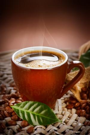 burlap: Coffee Cup  Stock Photo