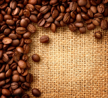 Coffee Border design  Beans over Burlap Background  Stock Photo - 13064638