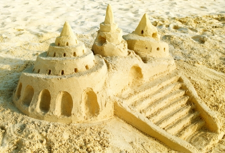 children sandcastle: Sand Castle on the Beach
