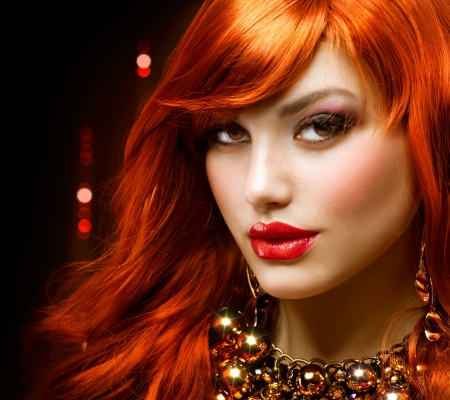 Fashion Red Haired Girl Portrait  Jewelry Stock Photo - 13549907