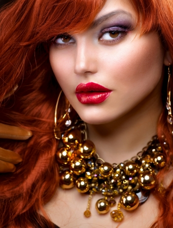 Fashion Red Haired Girl Portrait  Jewelry  photo