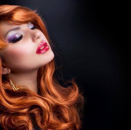 Wavy Red Hair  Fashion Girl Portrait Stock Photo - 13684213