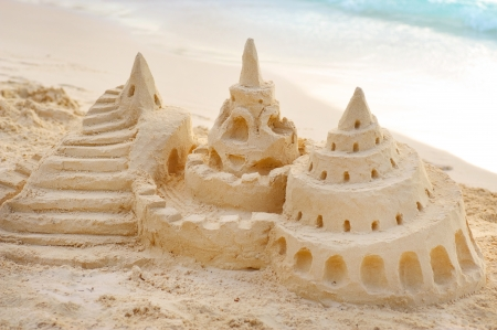 children sandcastle: Sand Castle on the Beach