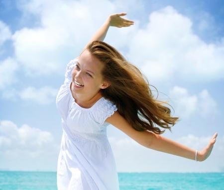 Beautiful Girl se divierten en la playa Foto de archivo