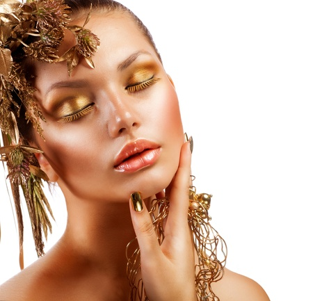fashion make up: Golden Luxury Makeup  Fashion Girl Portrait