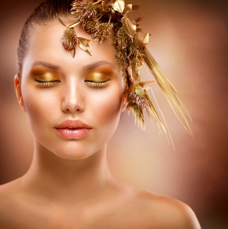 Golden Makeup  Luxury Fashion Girl Portrait