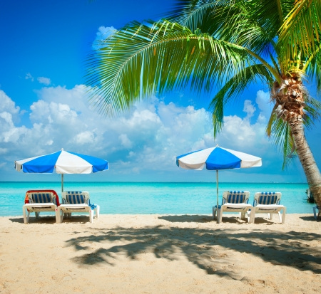 Vacation and Tourism concept  Sunbeds on the paradise beach  Stock Photo