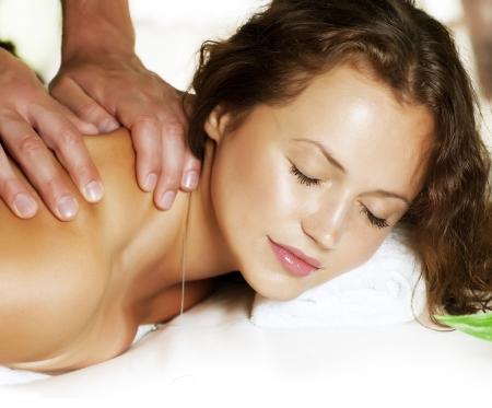 woman massage: Spa Massage  Beauty Woman Getting Massage  Day-Spa