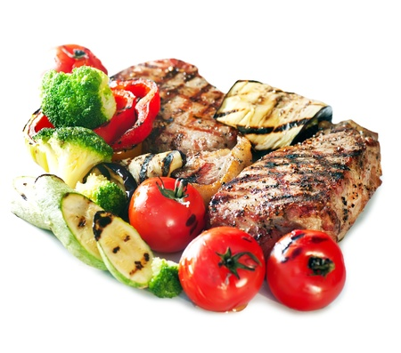 Grilled Beef Steak with Vegetables over White Background Stock Photo - 13856084