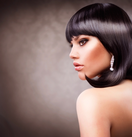 Beautiful Brunette Girl  Haircut  Hairstyle  photo