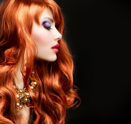 Red Haired Girl Portrait over Black photo