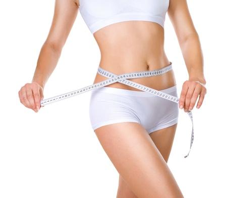 perfeito: Mulher que mede sua cintura corpo magro perfeito Banco de Imagens