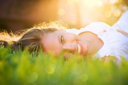 Spring Girl in Green Grass Stock Photo - 14022321