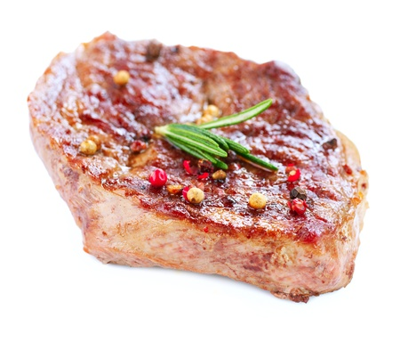 Grilled Beef Steak Isolated On a White Background Stock Photo - 14054134