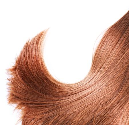 Gezonde Bruin haar op wit wordt geïsoleerd Stockfoto