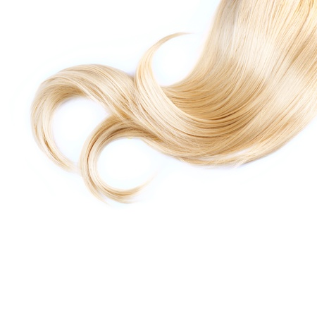 flaxen: Healthy Blond Hair Isolated On White Stock Photo