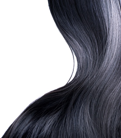 flaxen: Black Hair Over White  Stock Photo