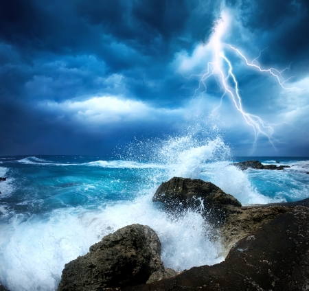 lightning storm: Ocean Storm Stock Photo
