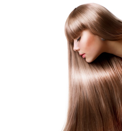 Blond Hair Beautiful Woman with Straight Long Hair