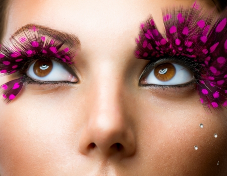 fantasy makeup: Fashion False Eyelashes  Stylish Makeup  Stock Photo