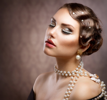 Retro Styled Makeup With Pearls  Beautiful Young Woman Portrait Stock Photo - 14193293
