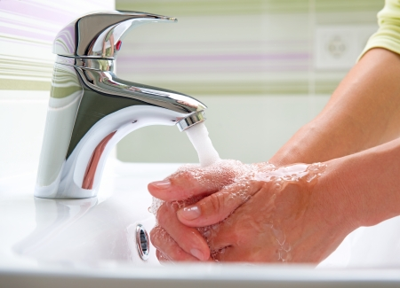 foam hand: Washing Hands  Cleaning Hands  Hygiene Stock Photo