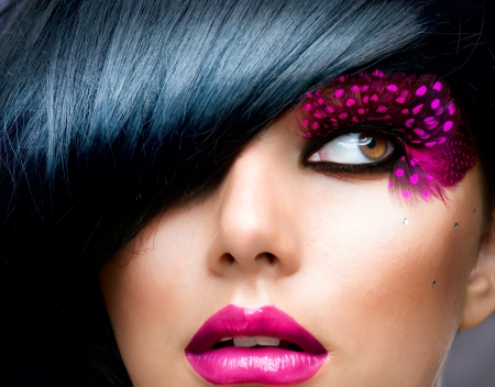 fantasy makeup: Fashion Brunette Model Portrait  Hairstyle