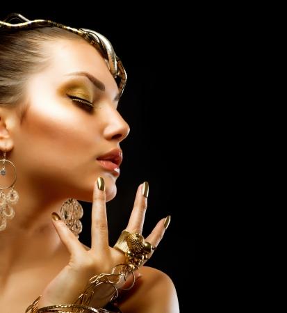 jewelry model: Fashion Girl Portrait  Golden Makeup