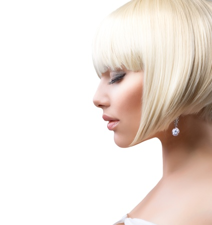 lipgloss: Blond Hair  Beautiful Girl with Healthy Short Hair  Stock Photo