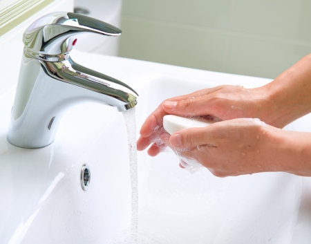 clean hands: Washing Hands  Cleaning Hands  Hygiene Stock Photo