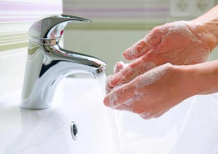 laver main: Se laver les mains Nettoyage Hygi�ne Mains Banque d'images