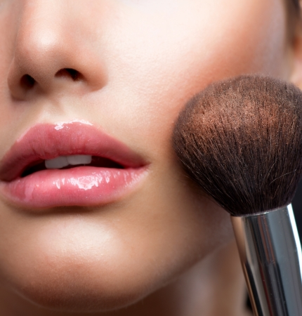 cosmetic beauty: Make-up closeup  Cosmetic Powder Brush  Perfect Skin