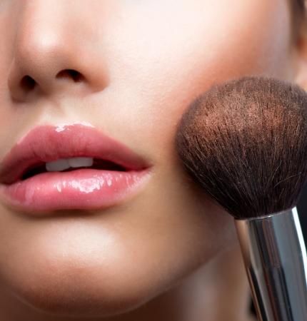 Make-up closeup  Cosmetic Powder Brush  Perfect Skin