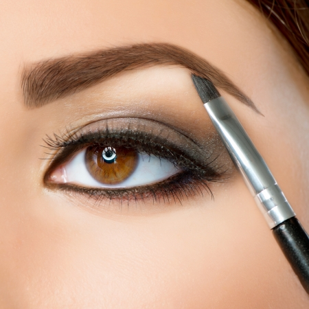Make-up  Eyebrow Makeup  Brown Eyes  Stock Photo