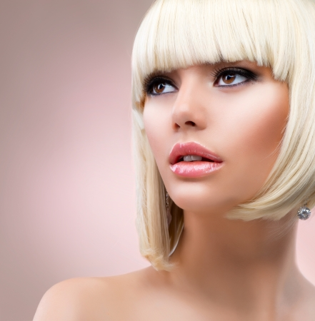 girl short hair: Fashion Blonde Woman Portrait  Blond Hair