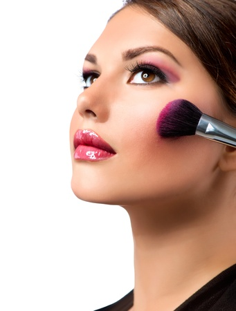 make up eyes: Makeup  Make-up Applying  Rouge  Blusher  Stock Photo